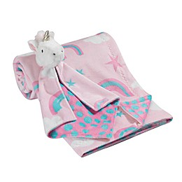 Lambs & Ivy® 2-Piece Rainbow Blanket and Unicorn Lovey Toy Set in Aqua/Pink