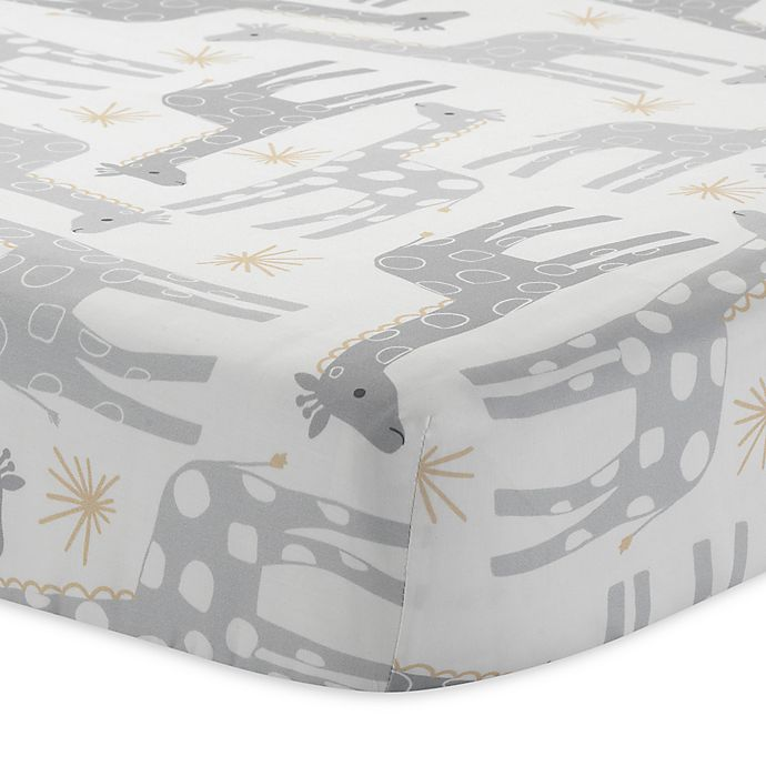 Alternate image 1 for Lambs & Ivy® Goodnight Giraffe Signature Moonbeams Fitted Crib Sheet in Grey/Gold