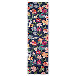 Momeni Newport Floral 2'3 x 8' Runner in Navy