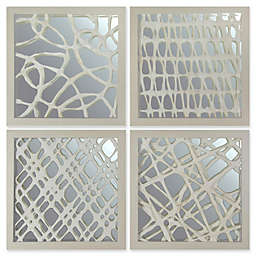 Marmont Hill Paper Art with Mirrored Shadow Boxes in Grey Space (Set of 4)