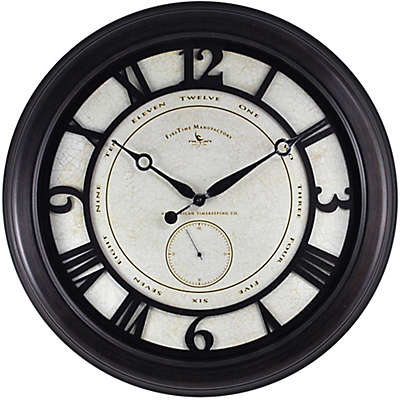 FirsTime® Big Gig Round Wall Clock in Oil Rubbed Bronze