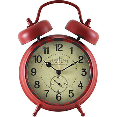 FirsTime® Double Bell Alarm Table Clock in Red