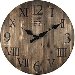 FirsTime® 24-Inch Rustic Barnwood Round Wall Clock