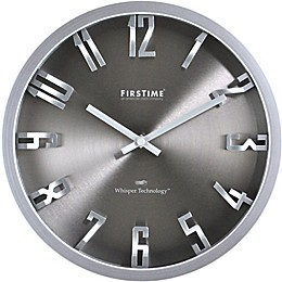 FirsTime® Steel Dimension Round Wall Clock in Silver