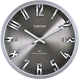 FirsTime® 10-Inch Steel Dimension Round Wall Clock in Silver