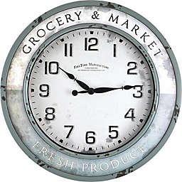 FirsTime® Vintage Grocery Round Wall Clock in Teal