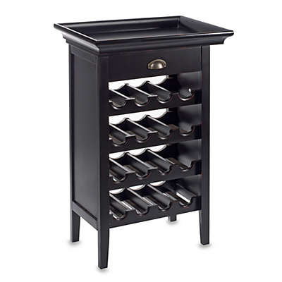 Powell Black Wine Storage Cabinet with Tray