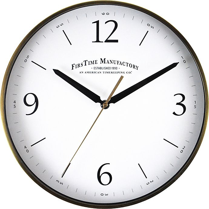 Alternate image 1 for FirsTime® Metal Round Wall Clock in Brushed Gold