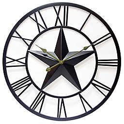 Infinity Instruments 27-Inch Patriot Wall Clock in Dark Brown