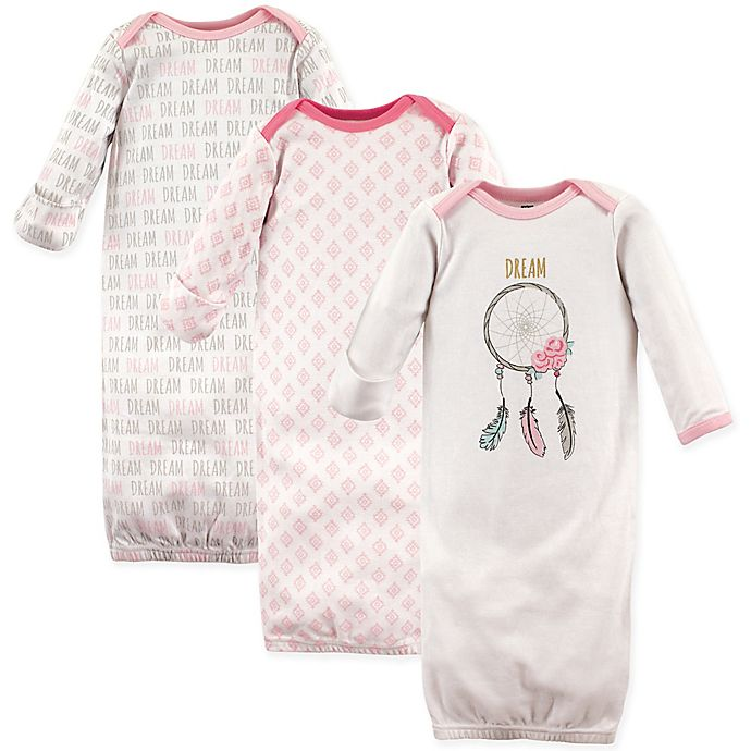Alternate image 1 for Hudson Baby® Size 0-6M 3-Pack Dream Catcher Gowns in Pink