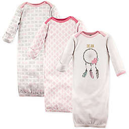 Hudson Baby® Size 0-6M 3-Pack Dream Catcher Gowns in Pink