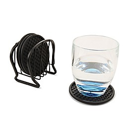 Spectrum Twist™ Metal 7-Piece Coaster Set in Black