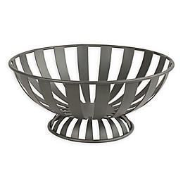Spectrum™ Stripe Metal Fruit Bowl in Grey