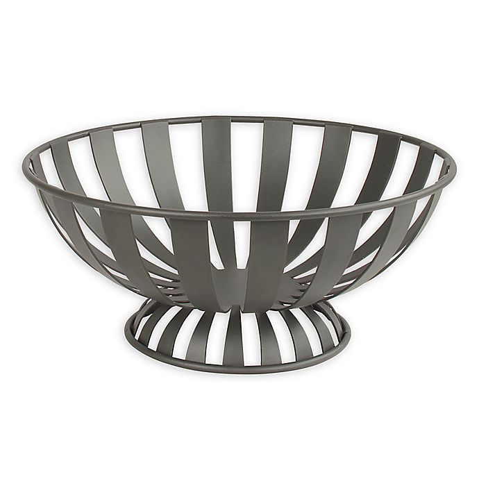 Alternate image 1 for Spectrum™ Stripe Metal Fruit Bowl in Grey