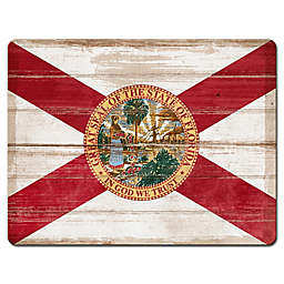 11 1/2-Inch x 15-Inch Tempered Glass Florida Cutting Board in White/Red
