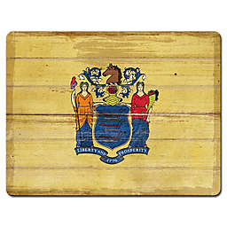 Highland Home 11 1/2-Inch x 15-Inch Tempered Glass New Jersey Cutting Board in Yellow/Blue