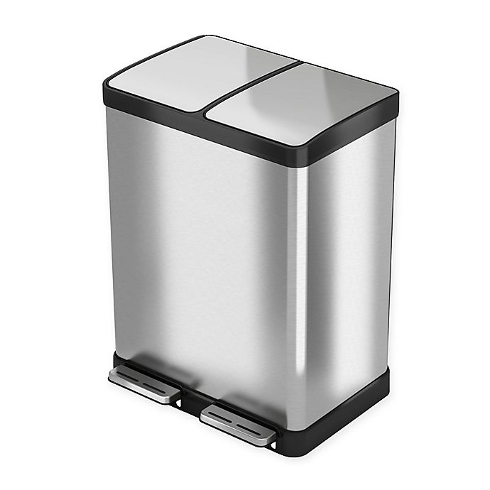 Alternate image 1 for halo Premium Stainless Steel 16-Gallon Recycler Trash Can