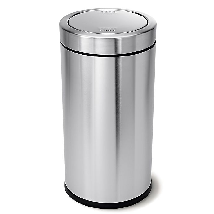 Alternate image 1 for simplehuman® 55-Liter Round Swing Top Trash Can in Brushed Steel
