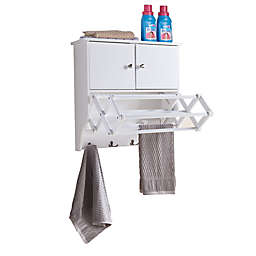 Danya B. Accordion Drying Rack with Cabinet in White