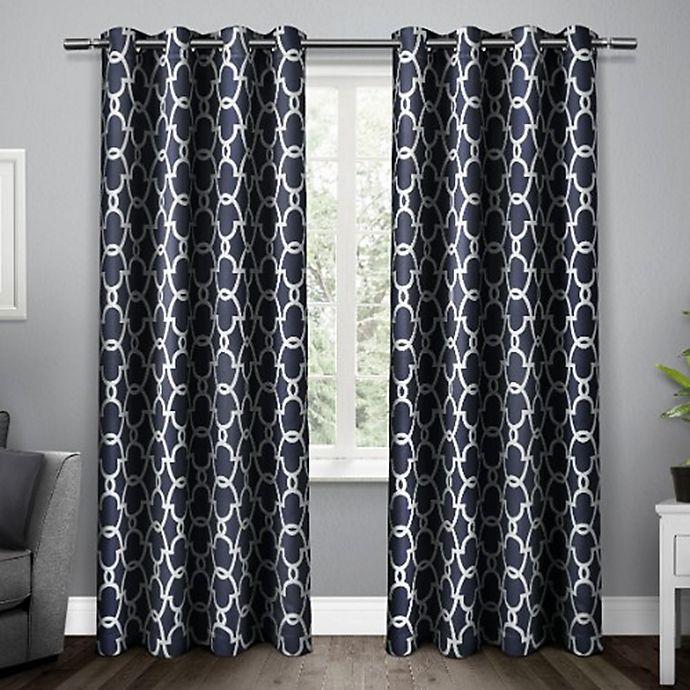 Alternate image 1 for Gates 84-Inch Grommet Top Room Darkening Window Curtain Panel Pair in Blue