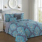 Avondale Manor Forte Reversilbe Queen Quilt Set in Teal