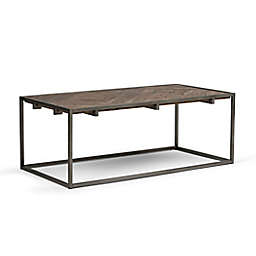 Simpli Home Avery Coffee Table in Distressed Java Brown