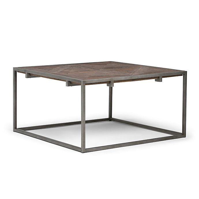 Alternate image 1 for Simpli Home Avery Square Coffee Table in Distressed Java Brown