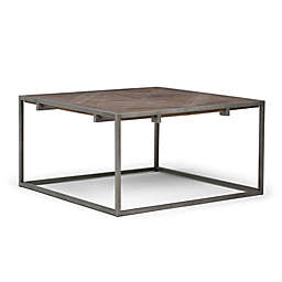 Simpli Home Avery Square Coffee Table in Distressed Java Brown