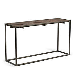 Simpli Home Avery Console Table in Distressed Java Brown