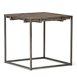 Simpli Home Avery Square End Table in Distressed Java Brown
