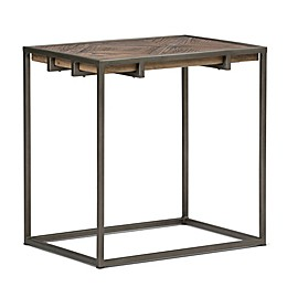 Simpli Home Avery Narrow End Table in Distressed Java Brown