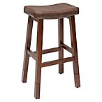 Aster Collection Faux Leather Upholstered Adjustable Bar Stool in Brown