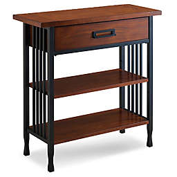 Leick Home Ironcraft Foyer Bookcase with Drawer Storage in Oak