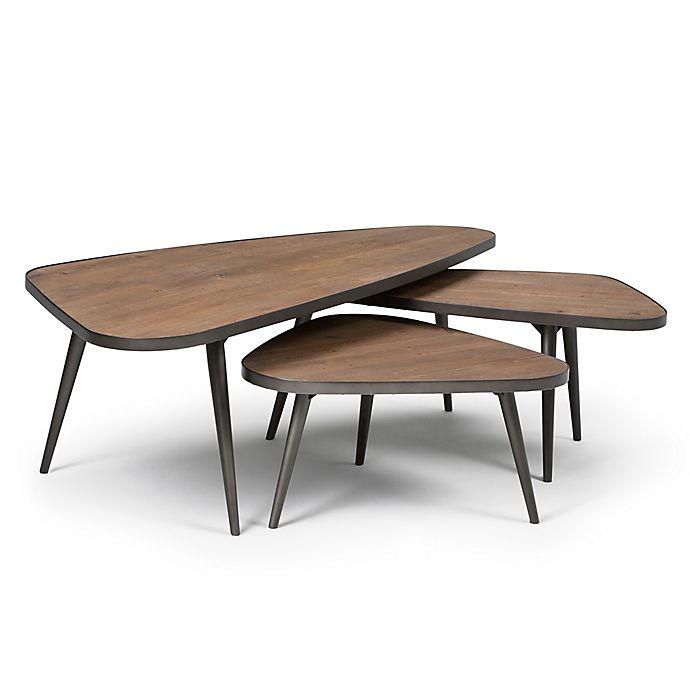 Simpli Home Aubrey 3-Piece Nesting Coffee Table Set   Bed ...