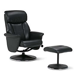 Simpli Home Carson Euro Recliner and Ottoman in Black