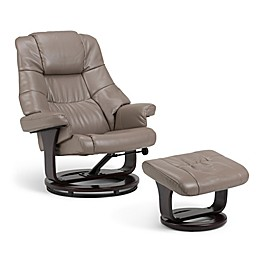Simpli Home Ledi Euro Recliner and Ottoman in Taupe