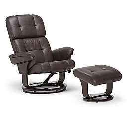 Simpli Home Merrin Euro Recliner and Ottoman in Brown