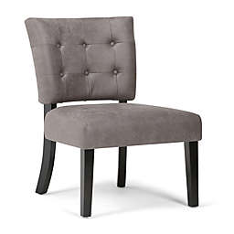 Simpli Home Greer Accent Chair in Warm Grey