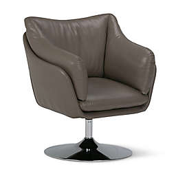Simpli Home Jasper Swivel Chair in Taupe