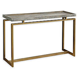 Coast to Coast Imports Grace Biscayne Console Table in Weathered Brown/Gold