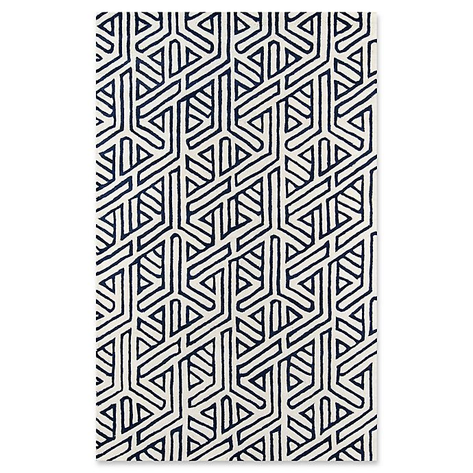 Alternate image 1 for Momeni Delhi Geometric Hand-Tufted Rug in Navy/White