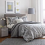 City Scene Branches Full/Queen Duvet Cover in Grey