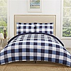 Truly Soft Everyday Buffalo Plaid King Duvet Cover Set in Navy