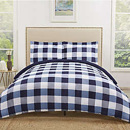 Truly Soft Everyday Buffalo Plaid Twin XL Duvet Cover Set in Navy