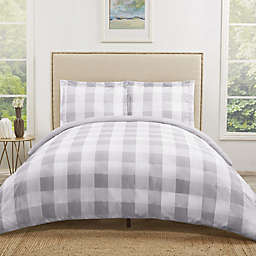 Truly Soft Everyday Buffalo Plaid King Duvet Cover Set in Grey