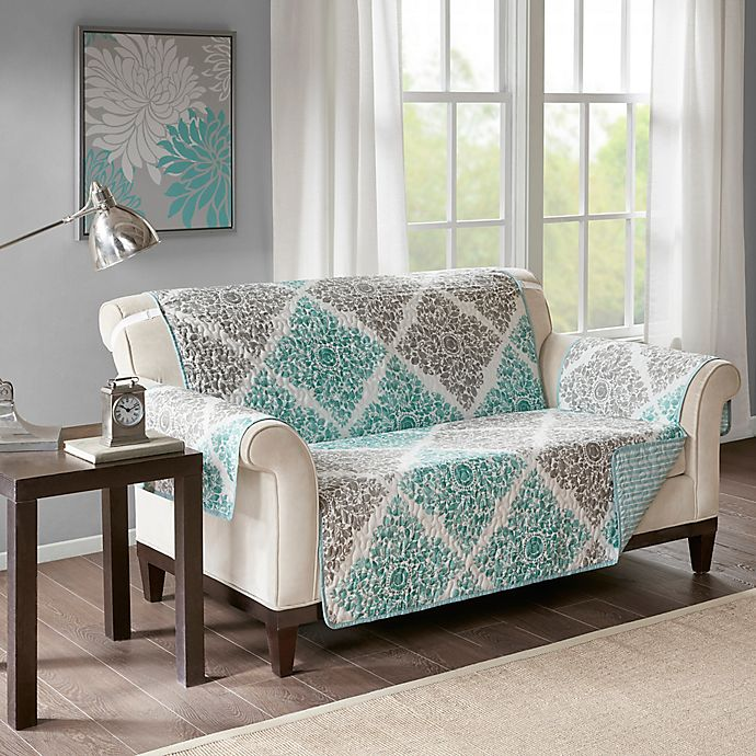 Alternate image 1 for Madison Park Claire Reversible Printed Furniture Protector In Aqua
