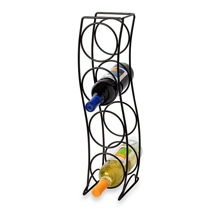 Curved Tower Black 4 Bottle Wine Rack Bed Bath And