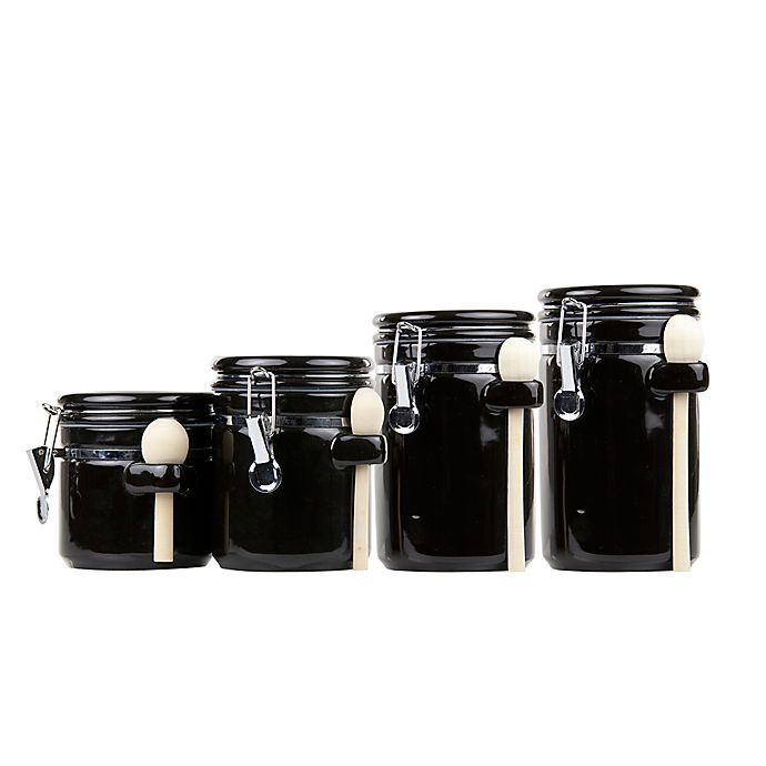 Alternate image 1 for Home Basics 4-Piece Ceramic Canister Set with Spoons in Black