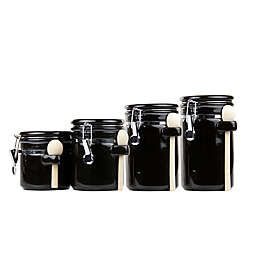 Home Basics 4-Piece Ceramic Canister Set with Spoons in Black