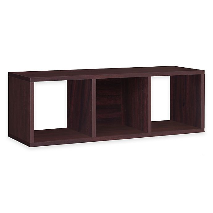 Alternate image 1 for Way Basics Tool-Free Assembly zBoard paperboard Stackable 3-Cubby Storage Bench in Espresso
